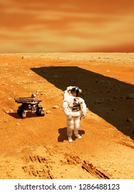 A lone astronaut with a rover, looks up at a huge monolith silhouetted against the sun while exploring a barren planet similar to Mars. - Elements of this image courtesy of NASA