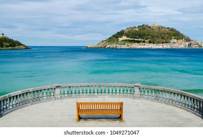 Lone Bench on La Concha - March 2018 - San Sebastián, Spain