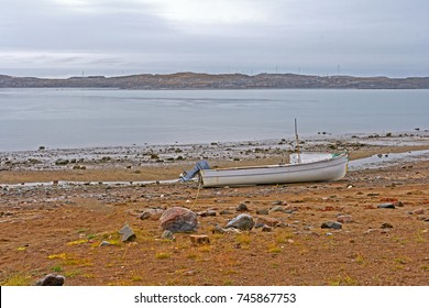 Lone Boat at Low Tide on the Coast of Iqaluit in Nunavut in Canada