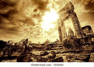 Lone doorway standing in desolate temple ruins