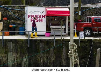 Lone fisherman in Mevagissey crossing past a mobile fish stall, his head is juxtoposed to replace the 'i' in 'fish' for his own head. editorial Cornwall, UK Editorial 06/04/2017