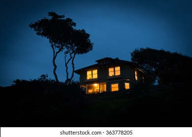 A lone house at night