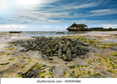 lone island hut standing on a rock outcrop under a bright blue clouded sky at dawn