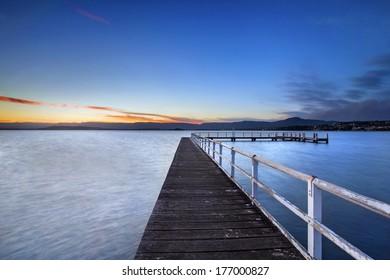 lone jetty at dusk