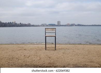 Lone lifeguard stand on Lake Calhoun, Minneapolis Minnesota.