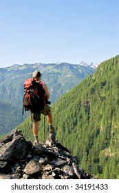 lone male backpacker