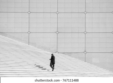 Lone Man on Stairs in La Defense - Paris