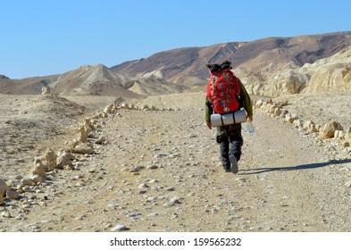 A lone man traveling through the desert. En Avedat, Israel