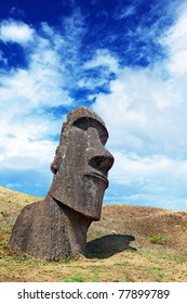 Lone moai standing in Easter Island