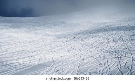 Lone mountain-skier