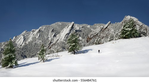 Lone person hiking in solitude amidst snow cover mountain and trees. Boulder, Colorado Flatirons.