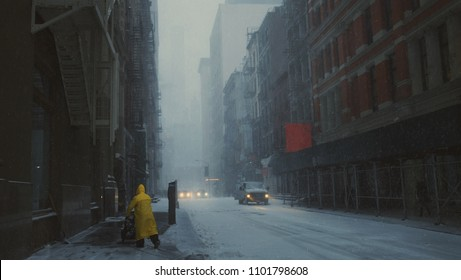 Lone person walking down snowy street in New York City
