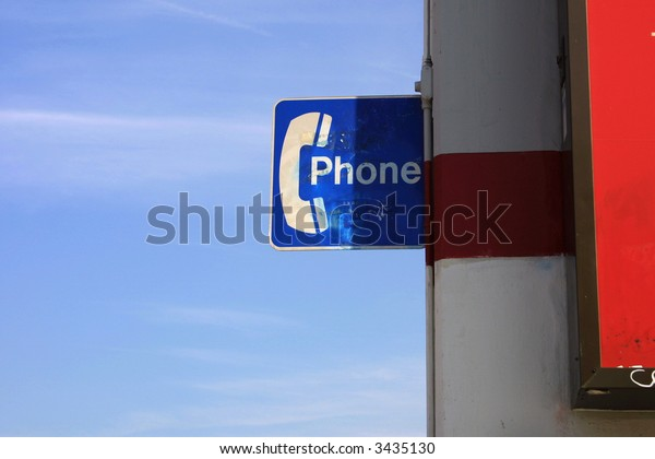 Lone phone sign. Lots of copy-space.