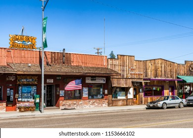 LONE PINE, CALIFORNIA - JULY 12, 2007: Main street of Lone Pine with stores, California.