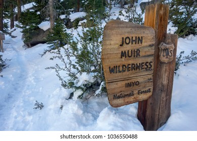 LONE PINE, CALIFORNIA, UNITED STATES - FEBRUARY 18, 2018: John Muir Wilderness Entrance Table on Mount Whitney Hiking Trail in Sierra Nevada Mountains