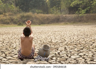 A lone poor children in the  arid area