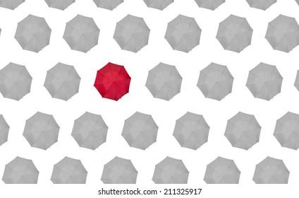 lone red umbrella on white