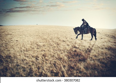 lone rider,horseman, knight in black, riding on a black horse in the meadow