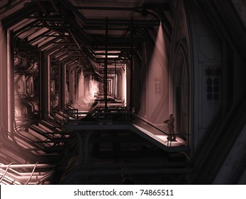 Lone Space Marine guardsman standing guard in a giant hangar or terminal building, 3d digitally rendered illustration