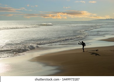Lone surfer exercising on empty beach at sunset, casting shadow on the sand
