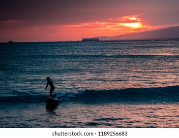 Lone Surfer at Snset (Waikiki Beach, Honolulu, Hawaii)