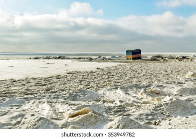 A lone tent on the frozen sea