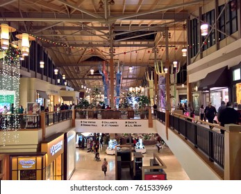 LONE TREE, CO - NOVEMBER 23, 2017: Shoppers fill Park Meadows Mall on Thanksgiving during Black Friday sales. Crowds are thinner versus previous years with sales dates spread across the entire weekend