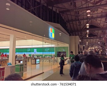 LONE TREE, CO - NOVEMBER 23, 2017: Shoppers line up at Microsoft Store on Thanksgiving for Black Friday. Microsoft has new devices such as Xbox One X, Surface Book 2, and the Invoke speaker w/ Cortana