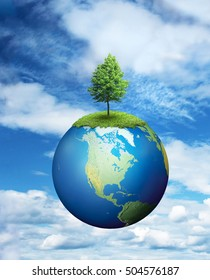 Lone tree growing on planet Earth, environmental concept