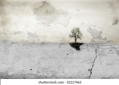 Lone tree stands on horizon in empty white field. Composite image abstract art creation.