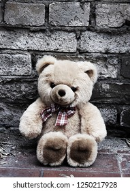 Lonely abandoned Teddy bear sitting by a brick wall