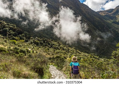 Lonely advanture travlers walking on Inca Trail, Machu Picchu, Cusco, Peru
