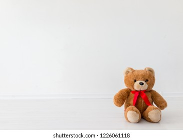 Lonely bear toy in a studio with white background