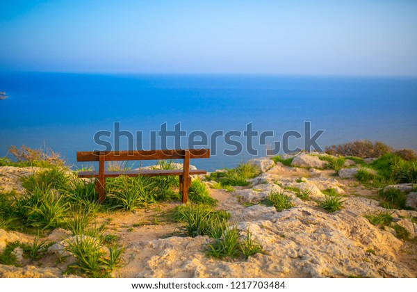 Lonely Bench On Observation Deck Height Stock Photo Edit Now 1217703484