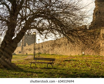 Lonely bench under the tree in a fortress