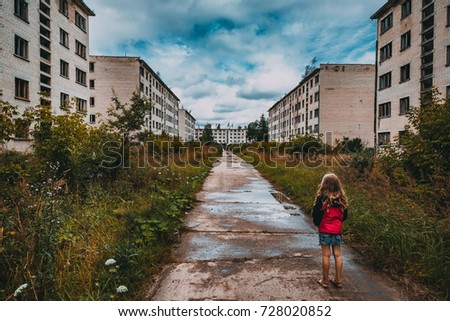 lonely child abandoned ghost town end stock photo edit now