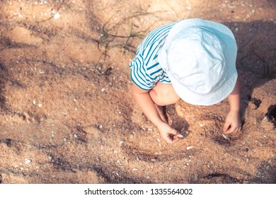 Lonely child toddler playing with sand and sea shells on beach happy childhood lifestyle with copy space
