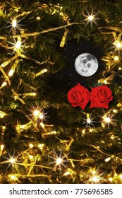 Lonely Christmas night with two beautiful red roses full moon and snow on Christmas lighting background.