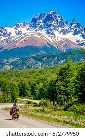 Lonely cyclist on the remote Carretera Austral road in the southern Patagonia, Chile