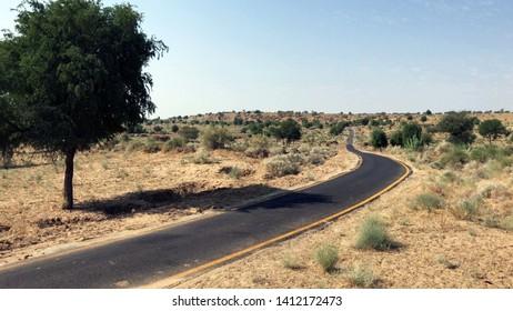 Lonely desert road in Thar, Sindh - Pakistan