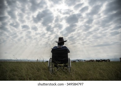 Lonely disabled man in wheelchair