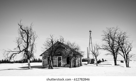 Lonely farmhouse in winter