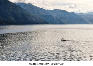 Lonely fisherman on Lake Atitlan, Guatemala