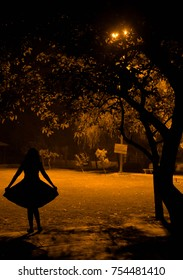 lonely girl silhouette