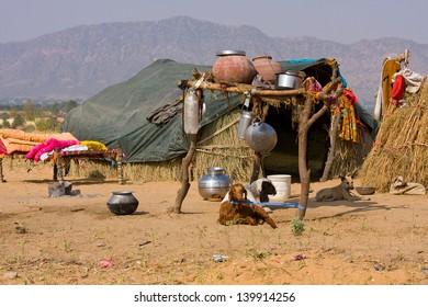 Lonely house in the desert near Pushkar, India