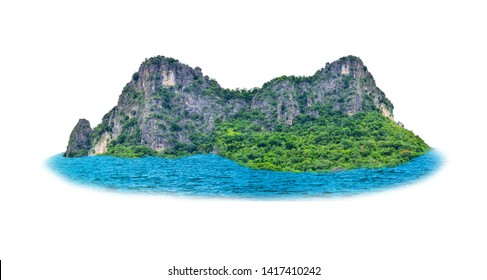 The lonely island in the middle of the sea has shadows on a white background along the path.
