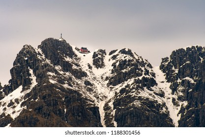 A lonely isolated mountain refuge at the top of a mountain called Resegone in Lombady, Italy