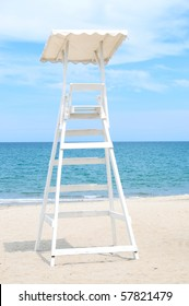 Lonely lifeguard tower on an empty beach