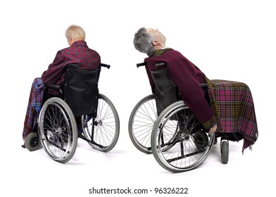 Lonely male elders in  wheelchairs