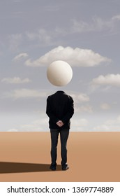 Lonely man in desert. Surreal concept
